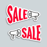 Sale megaphone sticker design Royalty Free Stock Image