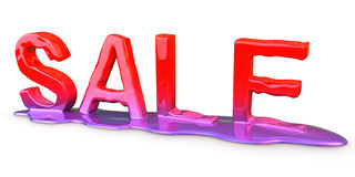 Sale melt. Inscription sale melting on white background Stock Photo