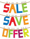 Sale message hanging in the air. Royalty Free Stock Image