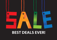 Sale message hanging in the air. Royalty Free Stock Photos