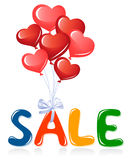 Sale message with heart balloons Stock Photos