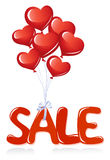 Sale message with heart balloons Royalty Free Stock Image