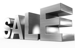 SALE metal - 3d letters isolated on white. Side view Royalty Free Stock Photo