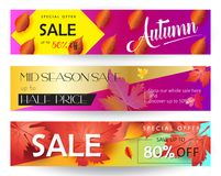 Autumn Sale. Mid season sale web banners set. Autumn Sale discount gift cards. Fall maple leaves abstract background. Save up to half price leaflet. Shop whole Stock Photo