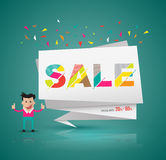 Sale modern banner origami style with cartoon character. Royalty Free Stock Image