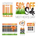 Sale For Mothers Day Badges Set Isolated Special Offer And Discount Signs Collection. Flat Vector Illustration Royalty Free Stock Images