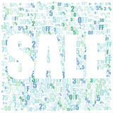 Sale multicolor background. Vector illustration of Sale background with 25 - 75 percents off in blue and green colors royalty free illustration