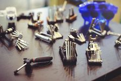 Sale of a multitool bicycle, a set of tools on the road royalty free stock images
