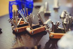 Sale of a multitool bicycle, a set of tools on the road royalty free stock image
