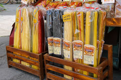 Sale of national Italian pasta at the street souvenirs shop Stock Photos