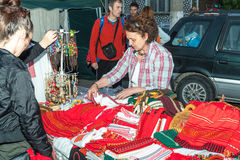 Sale of national woven items at the Nestenkar Games in Bulgaria Royalty Free Stock Photo