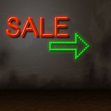 Sale Neon Represents Sales Merchandise And Glowing Royalty Free Stock Photography