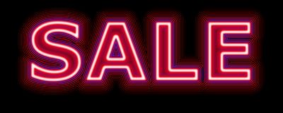 Sale neon sign promoting sales Royalty Free Stock Images