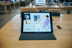 Sale of new Aipad in the official store of Apple in Berlin. Berlin, August 29, 2018: Sale of new ipad in the official store of Apple in Berlin Royalty Free Stock Photo