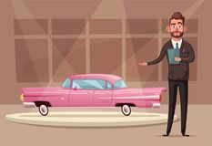 Sale of a new car. The seller at the car showroom shows the vehicle. Vector cartoon illustration royalty free illustration