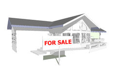 for sale new house 3D model computer Stock Photo