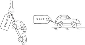Sale of new and used automobiles.Car with sale label. royalty free illustration