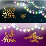 -25 and -70 Sale New Year Vector Illustration. 25 and -70 sale New Year theme with colorful garland, snowflakes and bell. Vector illustration of holiday Stock Photo