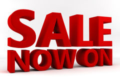 Sale Now On. Written in red 3D text against a white background Stock Photography