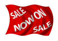 Sale Now on Flag. Billowing in the wind. White on red Royalty Free Stock Image