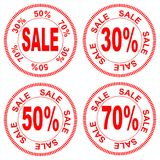 Sale, the numbers for discount of 30% 50% 70%, vector. Red inscription `sale` in the circle, figures for the discount 30% 50% 70% in one style, vector Royalty Free Stock Images