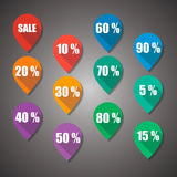 Sale and Numbers Flat Design Tag Stock Photo
