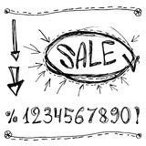 Sale, numbers, percentages, arrows. Sketched on a white background Stock Photo