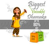 Sale och befordranannonseringbakgrund f?r festivalen Vaisakhi f?r det nya ?ret f?r punjabien firade i Punjab Indien stock illustrationer