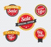 Sale och för specialt erbjudande emblem Arkivbild