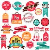 Sale och rabattetiketter royaltyfri illustrationer