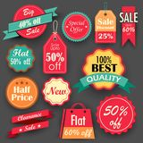 Sale och rabattetiketter stock illustrationer