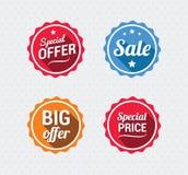 Sale och Retro emblem för specialt erbjudande Royaltyfri Foto