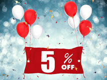 5% sale off banner on blue background Stock Image