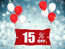 15% sale off banner on blue background. 3d rendering 15% sale off banner on blue background Vector Illustration