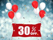 30% sale off banner. 3d rendering 30% sale off banner on blue background Royalty Free Stock Images