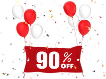 90% sale off banner. 3d rendering 90% sale off banner on white background Royalty Free Stock Photo
