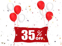 35% sale off banner. 3d rendering 35% sale off banner on white background Stock Images
