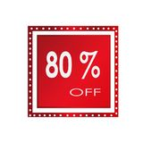 Sale 80% off banner design over a white background, vector illustration.  Royalty Free Stock Image