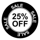 """Sale with 25% off. Black and white sign with text placed within concentric circles """" sale 25% off"""", white background Royalty Free Stock Photography"""