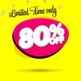 Sale 80% off, bubble banner design template, discount tag, limited time only, app icon, vector illustration. Sale 80% off, bubble banner design template royalty free illustration