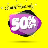 Sale 50% off, bubble banner design template, discount tag, limited time only, app icon, vector illustration. Sale 50% off, bubble banner design template vector illustration
