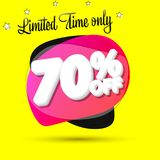 Sale 70% off, bubble banner design template, discount tag, limited time only, app icon, vector illustration. Sale 70% off, bubble banner design template vector illustration