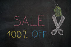 Sale 100% off on chalkboard. Sale 100% off. Sale and discount price sign with scissors cutting price tag drawn with chalk on blackboard Stock Photos