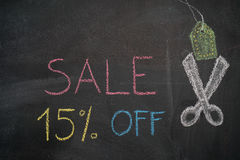 Sale 15% off on chalkboard Royalty Free Stock Images