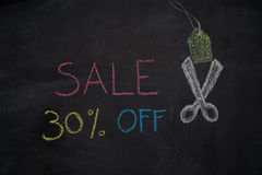 Sale 30% off on chalkboard Stock Photo