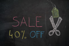 Sale 40% off on chalkboard Royalty Free Stock Photo