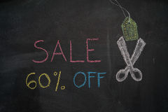 Sale 60% off on chalkboard Royalty Free Stock Image