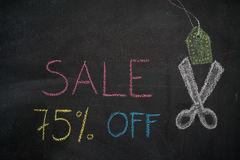 Sale 75% off on chalkboard Royalty Free Stock Images