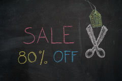 Sale 80% off on chalkboard. Sale 80% off. Sale and discount price sign with scissors cutting price tag drawn with chalk on blackboard Royalty Free Stock Photos