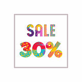 Sale 30% off color quote for business discount. Sale 30% off modern text quote, typography design in paper cut style. Special offer discount advertising for Royalty Free Stock Photo